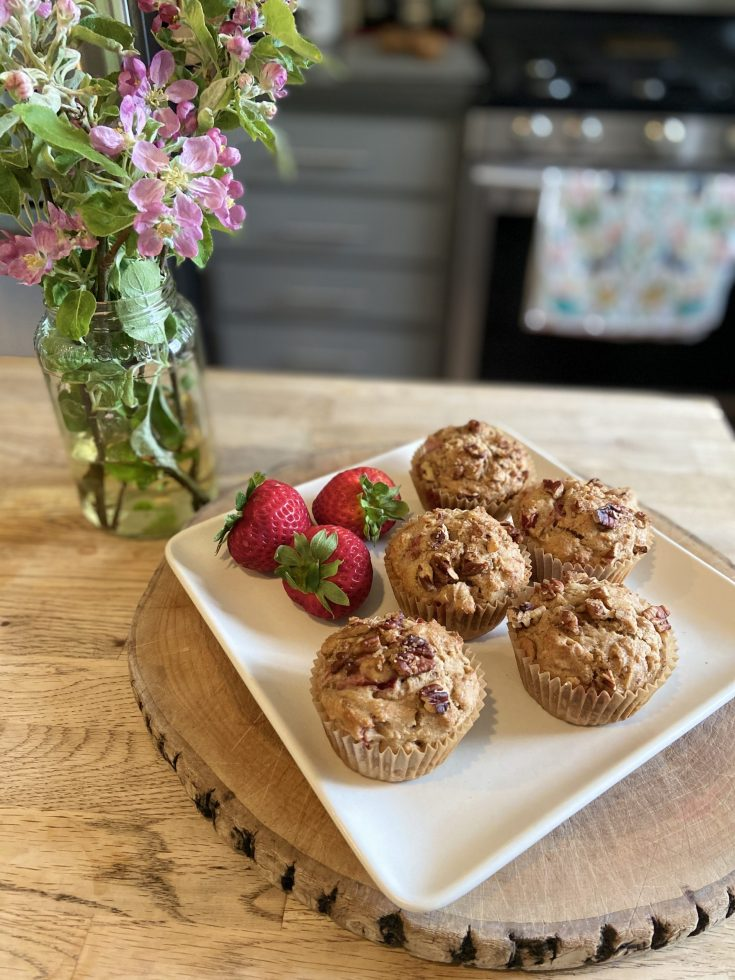 Nut-topped Nutritious Strawberry Rhubarb Muffins